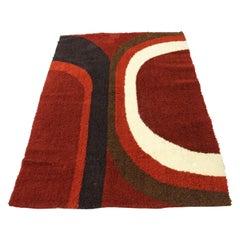 Mid-Century Modern Scandinavian Red Rya Shag Rug