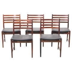 Mid-Century Modern Scandinavian Set of 5 Chairs in Rosewood by Lyngfeldt Larsen
