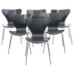 Mid-Century Modern Scandinavian Set of 6 Chairs by Arne Jacobsen