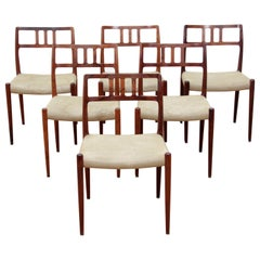 Mid-Century Modern Scandinavian Set of 6 Chairs by Niel Møller in Rosewood