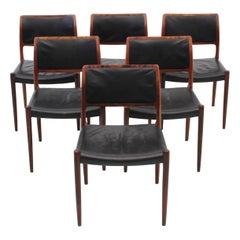 Mid-Century Modern Scandinavian Set of 6 Chairs in Rosewood Model N°80