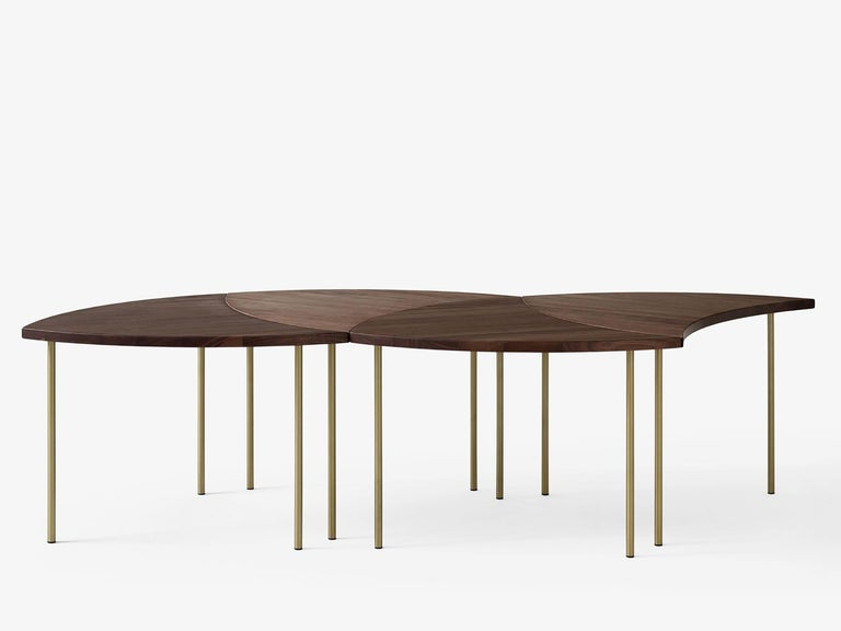 Set of 6 pinwheel HM7 coffee or side tables by Hvidt and Mølgaard. New edition. Oak. Originally produced by France & Daverkosen in 1952 under the name fd 523 Series of coffee tables by Peter Hvidt & Orla Mølgaard-Nielsen are now back into