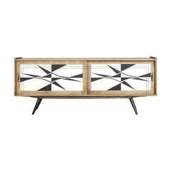 Mid-Century Modern Scandinavian Sideboard with Hand Painted Pattern, 1960s