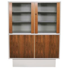 Mid-Century Modern Scandinavian Style China Display Cabinet, White Case and Teak