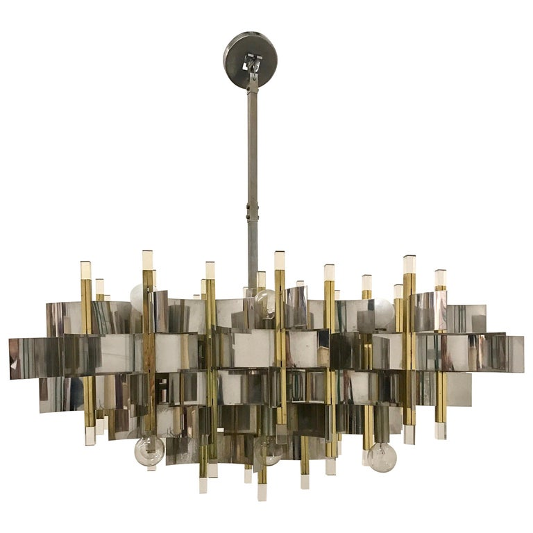 Mid-Century Modern Sciolari Chandelier Brass Chrome Lucite Made in Italy Large For Sale