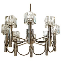 "Mid-Century Modern Sciolari Chrome Cubist Chandelier, 8 ""Ice Cube"" Glass Shades"
