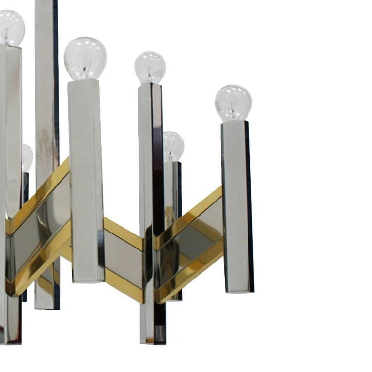 Mid-Century Modern Sciolari Concorde Brass Italian Pending Lamp In Good Condition For Sale In Madrid, ES