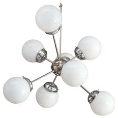 Mid-Century Modern Sciolari Style 8 White Globe and Chrome Sputnik Chandelier