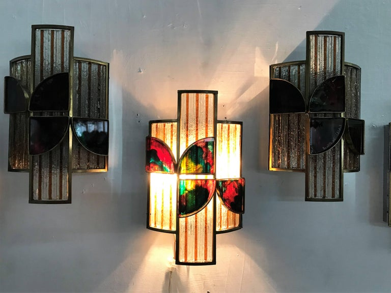 Brutalist set of 10 Mid-Century Modern Sconces by Poliarte, Italy, circa 1960 For Sale