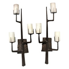 Mid-Century Modern Sconces Organic Tree Design, After Agostini French