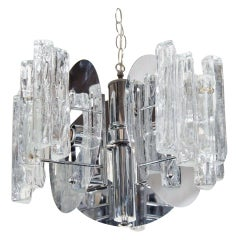 Mid-Century Modern Sculpted Glass and Nickel Chandelier by Salviati, c. 1970's