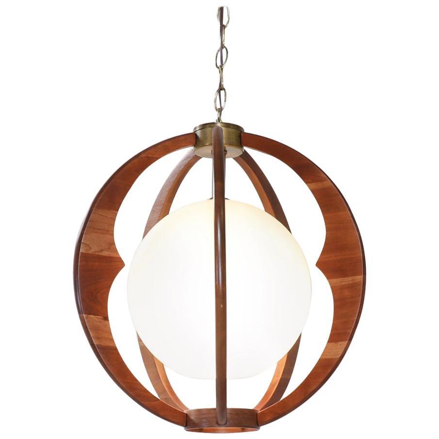 Mid-Century Modern Sculpted Sphere Pendant Chandelier