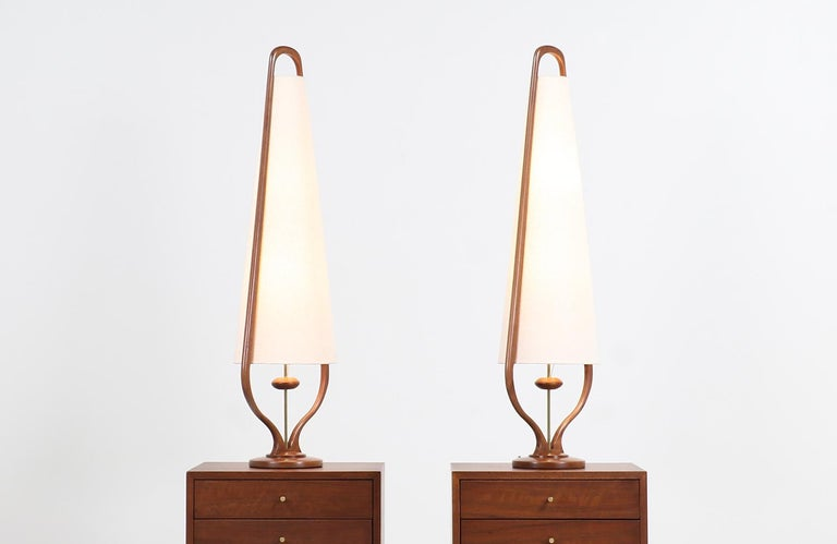 American Mid-Century Modern Sculpted Walnut and Brass Table Lamps by Modeline For Sale