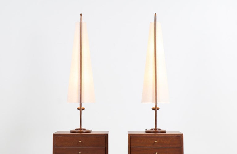 Polished Mid-Century Modern Sculpted Walnut and Brass Table Lamps by Modeline For Sale