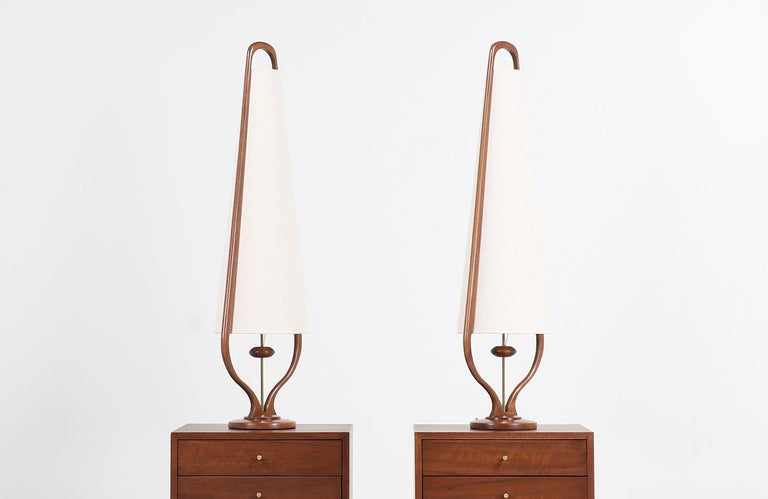 Mid-20th Century Mid-Century Modern Sculpted Walnut and Brass Table Lamps by Modeline For Sale