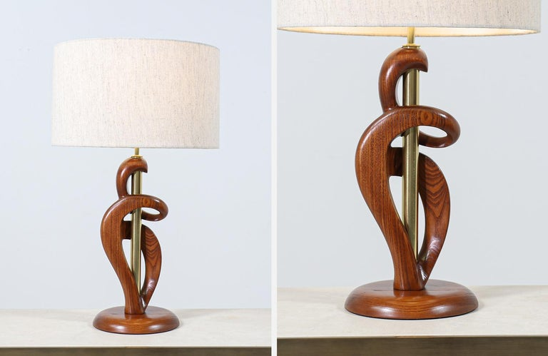 Mid-Century Modern Sculpted Walnut & Brass Table Lamps by Modeline of California For Sale 5