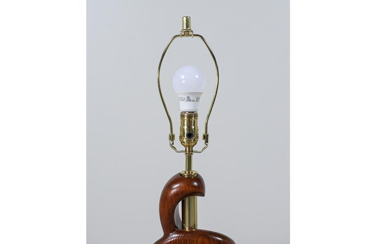Mid-Century Modern Sculpted Walnut & Brass Table Lamps by Modeline of California For Sale 6