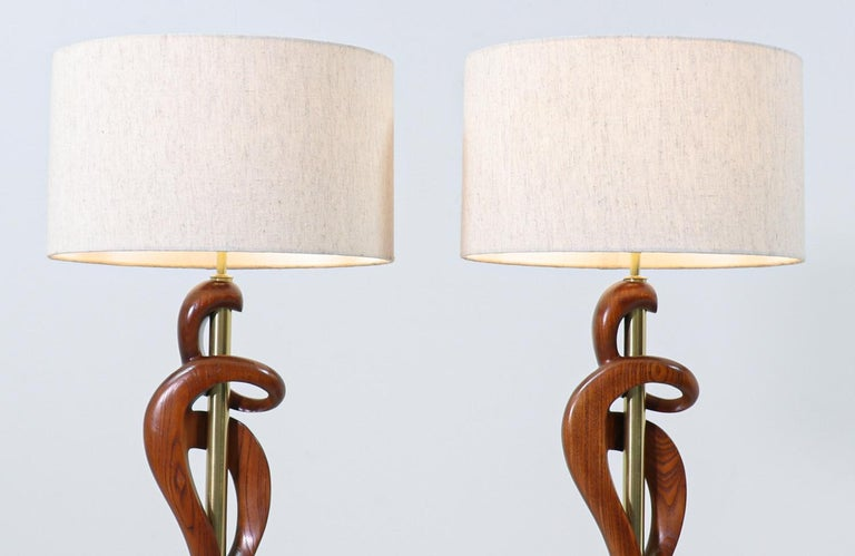 Mid-20th Century Mid-Century Modern Sculpted Walnut & Brass Table Lamps by Modeline of California For Sale