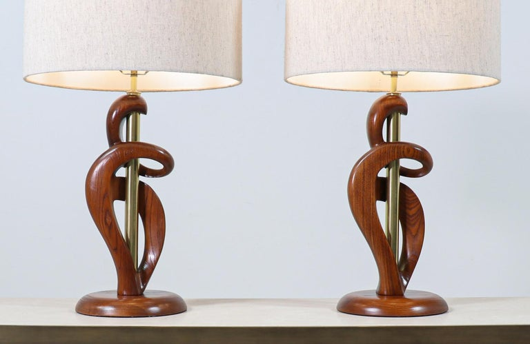 Mid-Century Modern Sculpted Walnut & Brass Table Lamps by Modeline of California For Sale 1