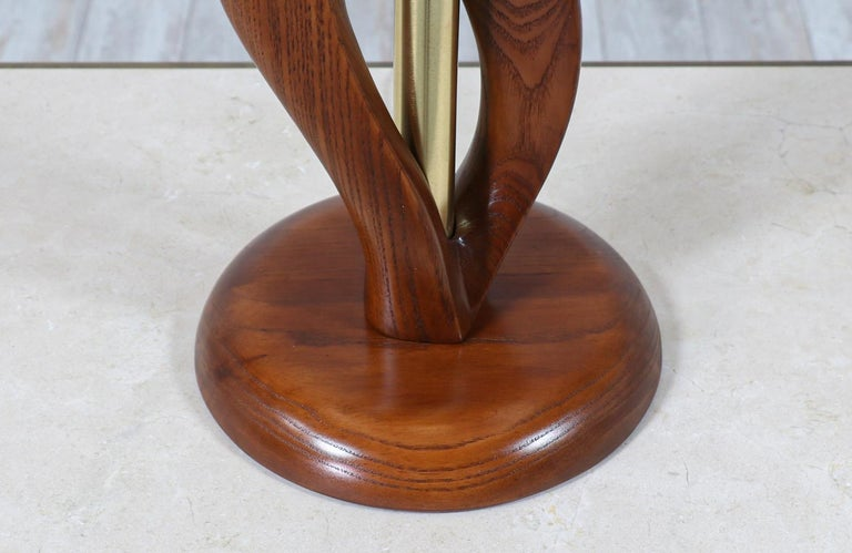 Mid-Century Modern Sculpted Walnut & Brass Table Lamps by Modeline of California For Sale 4