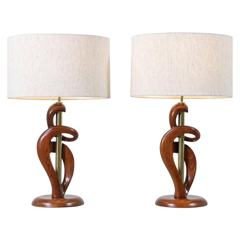 Mid-Century Modern Sculpted Walnut & Brass Table Lamps by Modeline of California For Sale