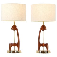 Mid-Century Modern Sculpted Walnut and Brass Table Lamps