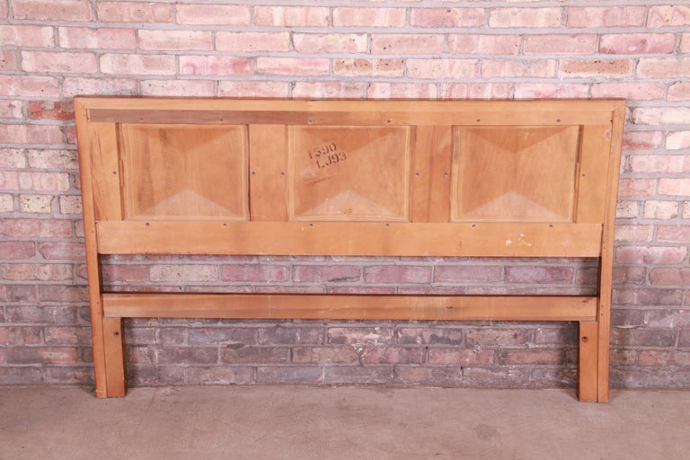 Mid-Century Modern Sculpted Walnut Diamond Front Headboard by United For Sale 3