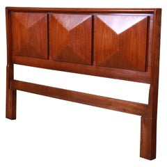 Mid-Century Modern Sculpted Walnut Diamond Front Headboard by United