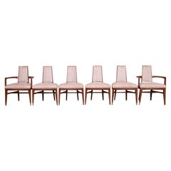 Mid-Century Modern Sculpted Walnut Dining Chairs by White Furniture, Set of Six