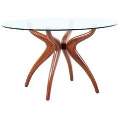 Mid-Century Modern Sculpted Walnut Dining Table