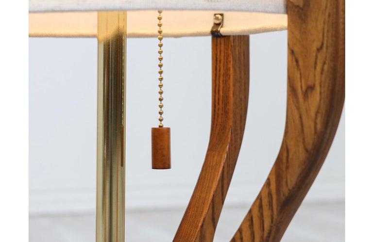 Mid-Century Modern Sculpted Walnut Floor Lamp by Modeline For Sale 3