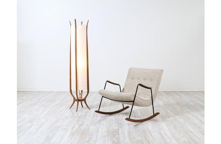 Mid-Century Modern sculpted walnut floor lamp by Modeline.
