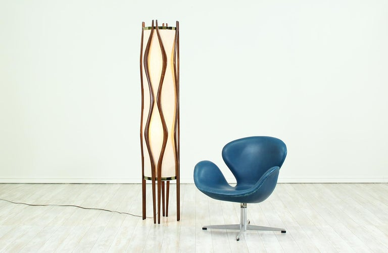 Mid-Century Modern Sculpted Walnut Floor Lamp by Modeline 3