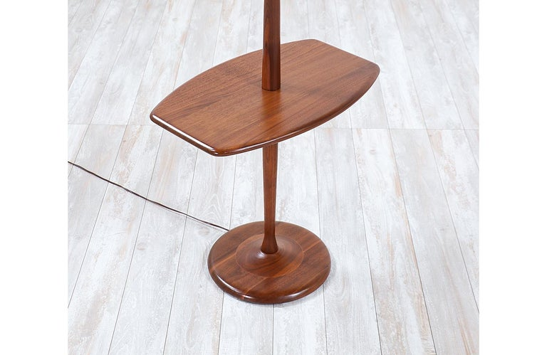 Mid-Century Modern Sculpted Walnut Floor Lamp with Side Table by Laurel For Sale 2