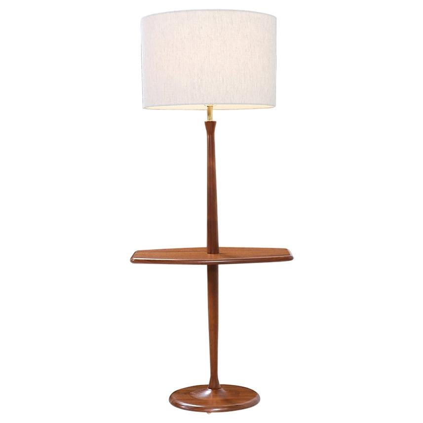 Mid-Century Modern Sculpted Walnut Floor Lamp with Side Table by Laurel