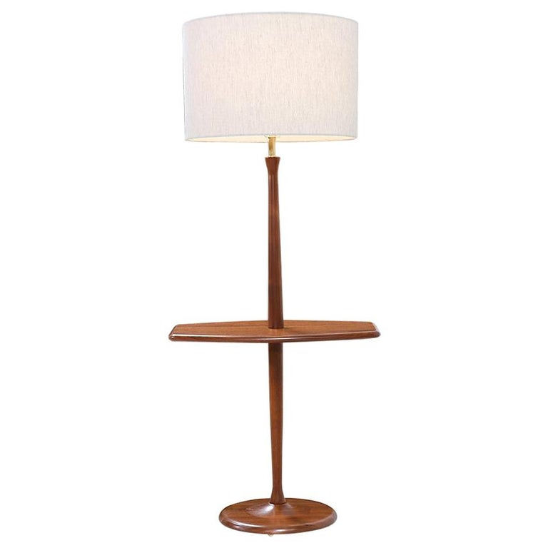 Mid-Century Modern Sculpted Walnut Floor Lamp with Side Table by Laurel For Sale