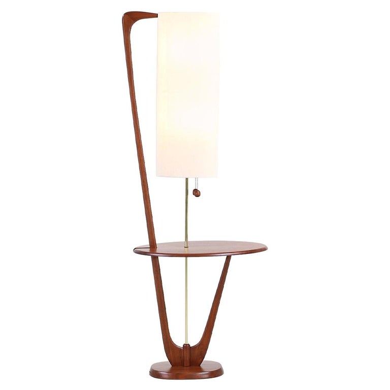 Mid-Century Modern Sculpted Walnut Floor Lamp with Side Table For Sale