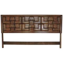 Mid-Century Modern Sculpted Walnut King Headboard