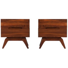 Mid-Century Modern Sculpted Walnut Nightstands Attributed to Vladimir Kagan