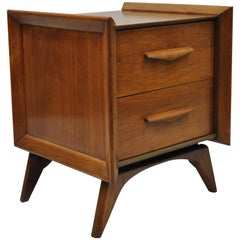 Mid-Century Modern Sculpted Walnut Nightstand End Table