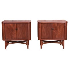 Mid-Century Modern Sculpted Walnut Nightstands, Newly Refinished