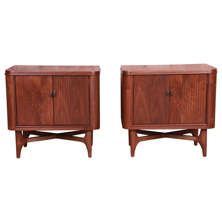 Mid-Century Modern Sculpted Walnut Nightstands, Newly Refinished For Sale