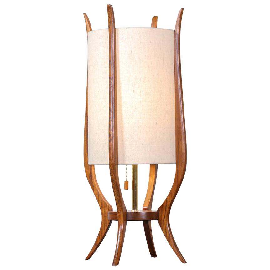 Mid-Century Modern Sculpted Walnut Table Lamp by Modeline