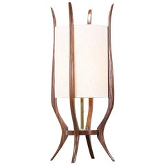 Mid-Century Modern Sculpted Walnut Table Lamp