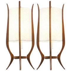Mid-Century Modern Sculpted Walnut Table Lamps