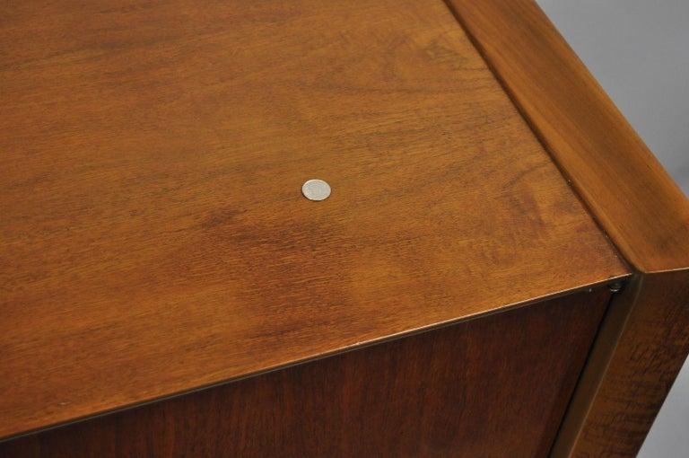 Mid-Century Modern Sculpted Walnut Tall Chest Dresser For Sale 2