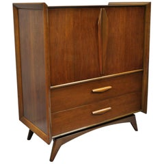 Mid-Century Modern Sculpted Walnut Tall Chest Dresser