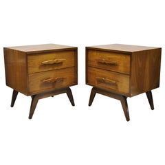 Mid-Century Modern Sculpted Walnut Two-Drawer Nightstands Bedside Tables, Pair