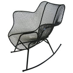 Mid-Century Modern Sculptura Wire Mesh Rocking Chair by Russell Woodard