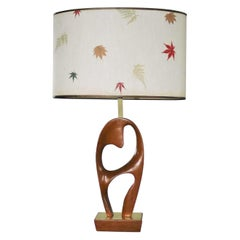Mid-Century Modern Sculptural Biomorphic Walnut and Brass Table Lamp